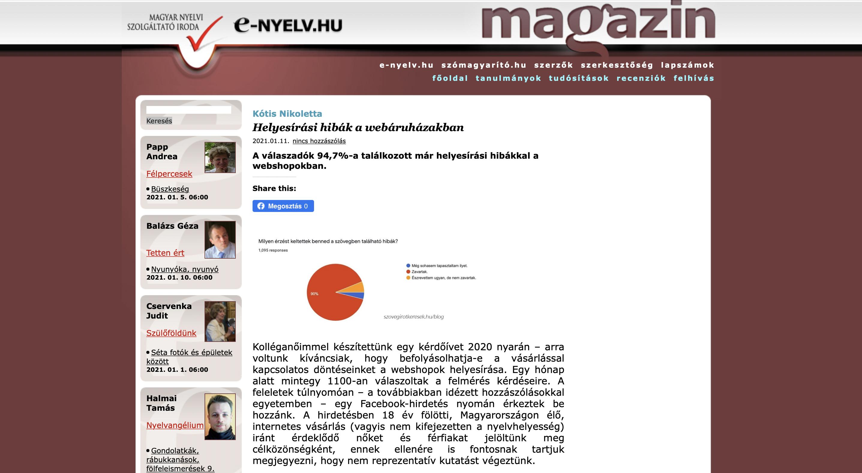 Megjelenés az E-nyelv Magazin honlapján