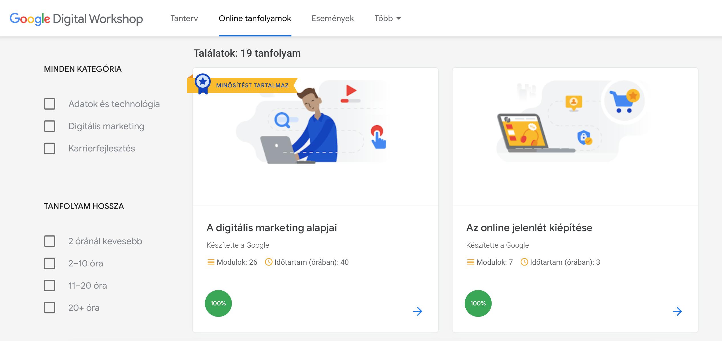 Fedezd fel a Google ingyenes online tanfolyamait!