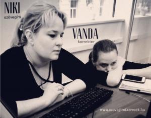 Kótis Nikoletta szövegíró és Cseh Vanda korrektor
