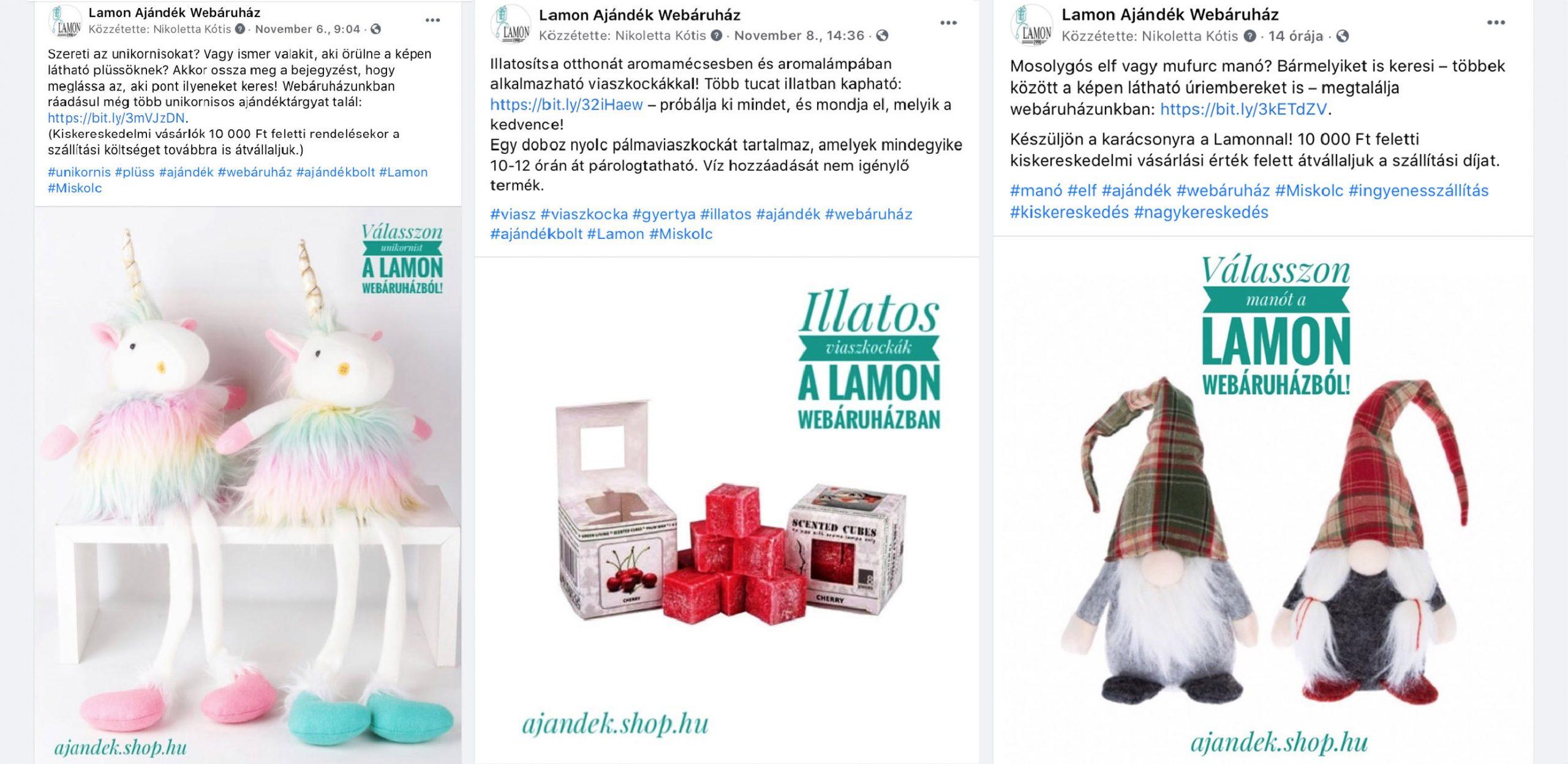 szovegirotkeresek.hu referencia: Facebook-posztok készítése a Lamon ajándékáruház számára (Kótis Nikoletta)