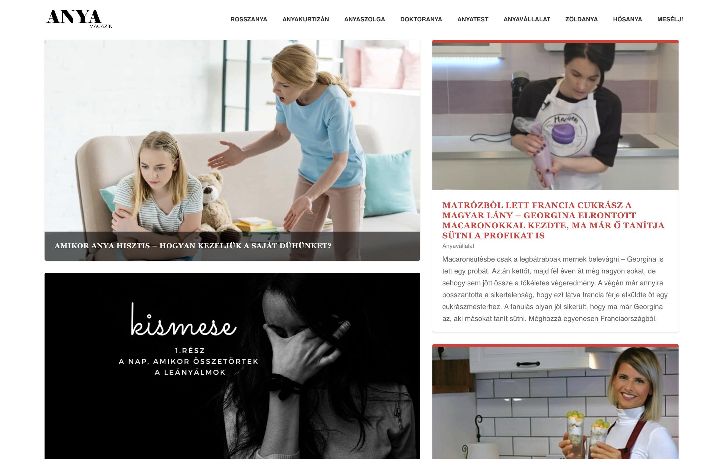 referencia – online magazin olvasószerkesztése (Kótis Nikoletta): Anyamagazin