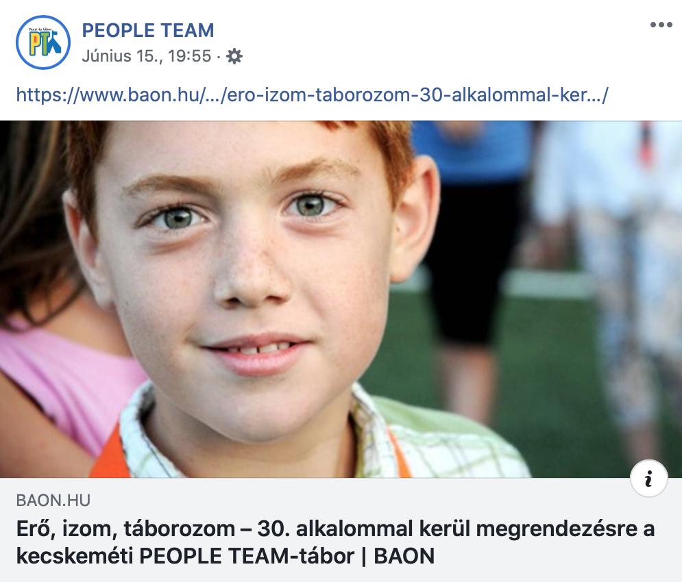 PEOPLE TEAM nyári tábor Facebook-oldal