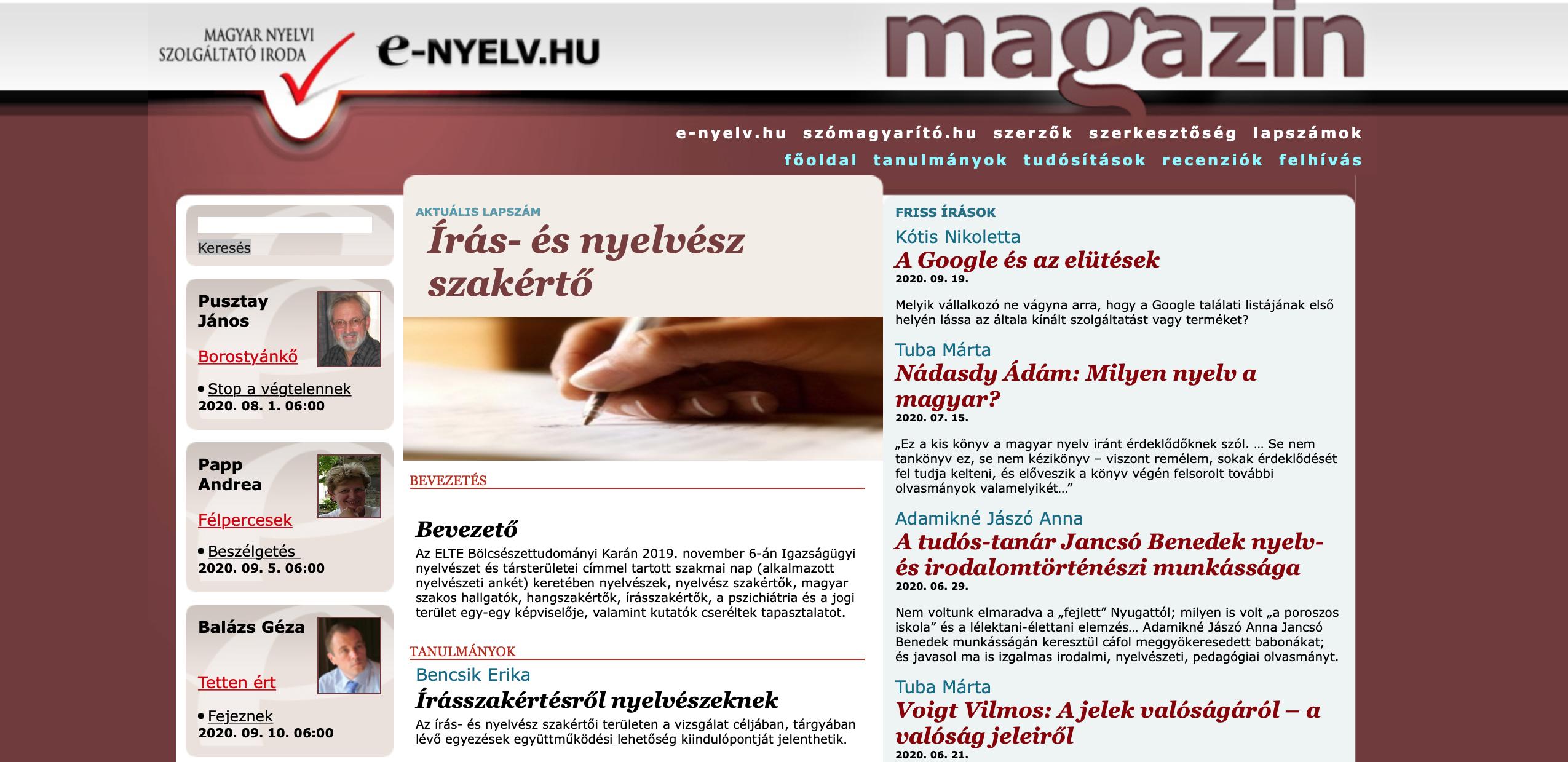 E-nyelv Magazin-címlap: a Google és az elütések és a helyesírás