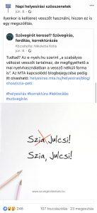 Facebook-nyelvhasználat: a Szövegírót keresel bejegyzése a Napi helyesírási szösszenetek megosztásában