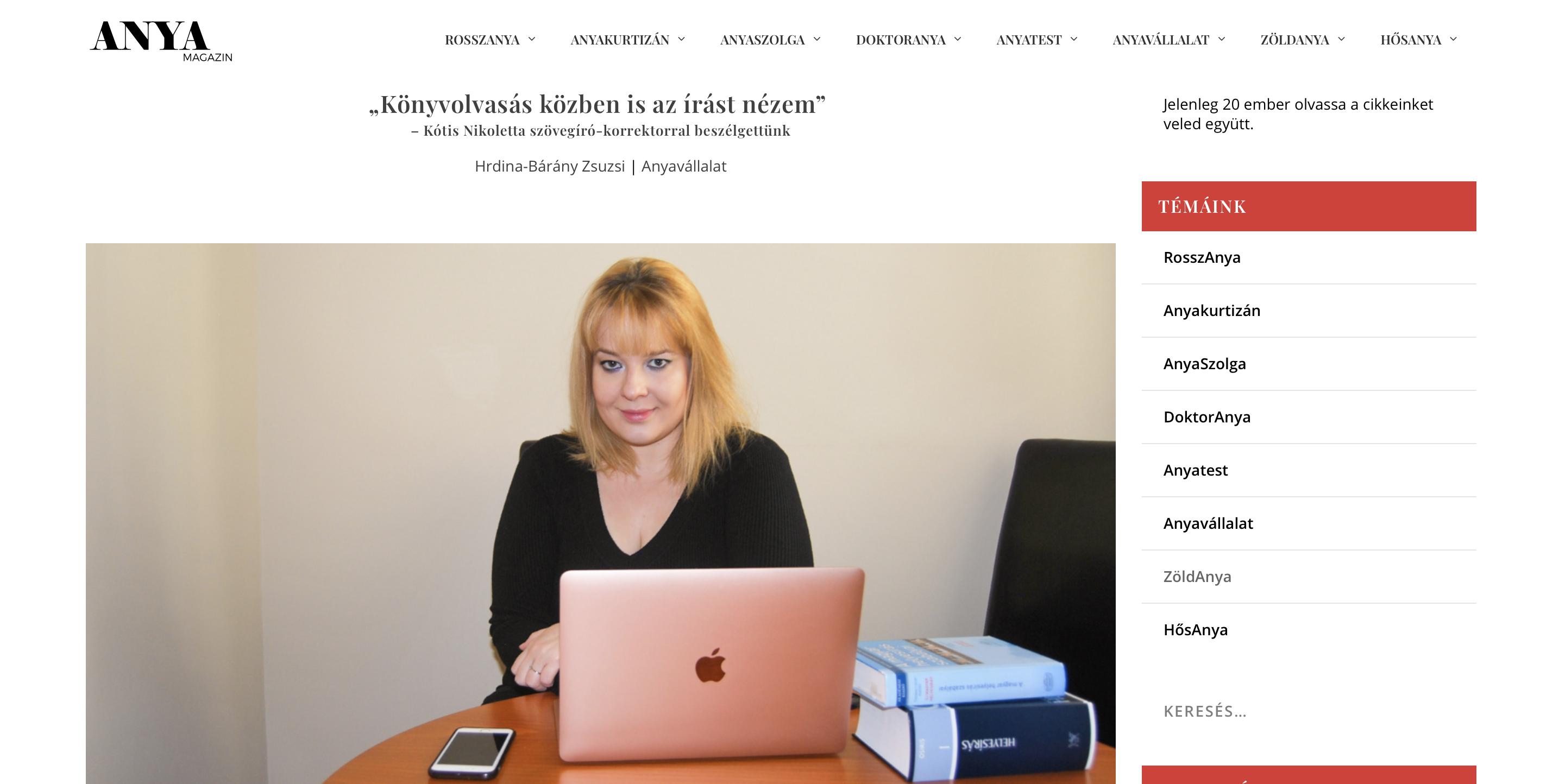 Kótis Nikoletta szövegíró-korrektor interjúja az Anyamagazinban
